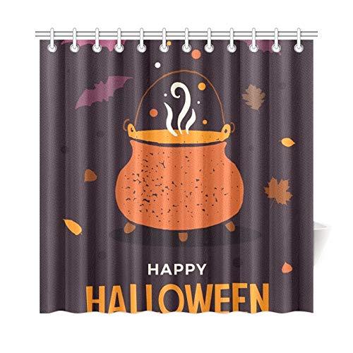 ad Vorhang Halloween Hexen Topf Kochtränke Polyester Stoff Wasserdicht Duschvorhang Für Badezimmer, 72X72 Zoll Duschvorhang Haken Enthalten ()