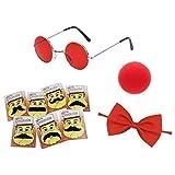 Niños Comic Relief Máscara Disfraz Accesorios (Rojo Nariz, Gafas, Mosca & Moustache)