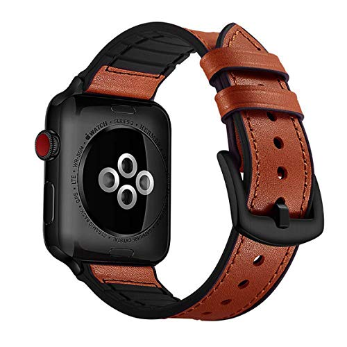 CASE U Rubber Hybrid Leather Band Strap Compatible with Apple Watch Series 4 & 5 44mm Series 3 Series 2 Series 1 42mm Sport Edition(Light Brown)