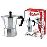 Moka Cafetera de Café Con 3 Tazas Aluminio Kasaviva Junta de Silicona Gris
