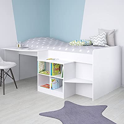 Kidsaw Pilot Cabin Bed, Wood, White, 195 x 137 x 80 cm