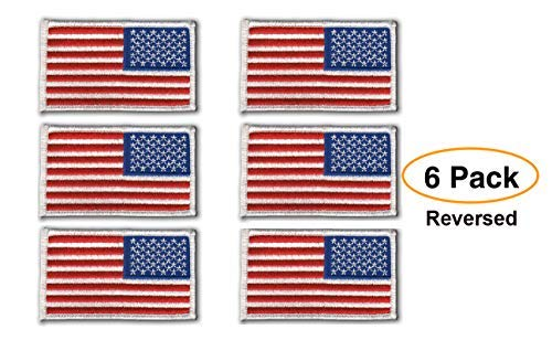 6 Pack - umgekehrt American Flagge bestickt Patch, weiß Bordüre USA United States of America, US Flagge Patch, genäht auf -