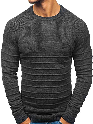 BOLF Herren Pullover Strickjacke Strickpullover Oberbekleidung Casual Style OXCID 161 Anthrazit S [5E5] | 05902646952055