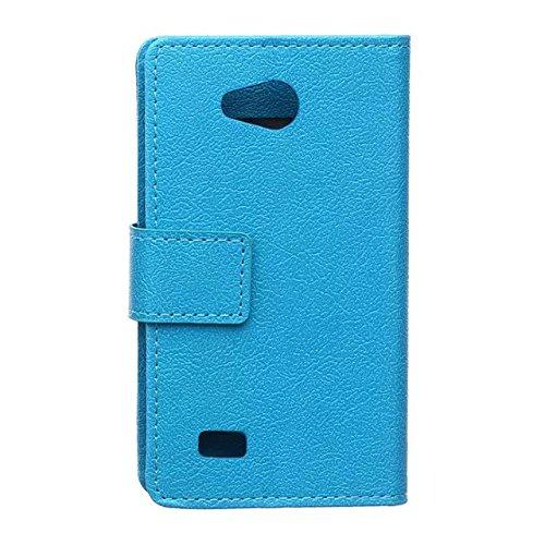 LG Joy H220N Case, Solid Color Kas Textur Muster Leder Schutzhülle Case Horizontal Flip Stand Case mit Kartensteckplätzen für LG Joy H220N ( Color : Black , Size : LG Joy H220N ) Blue