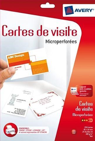 Avery 250 Cartes de Visite à Bords Micro Perforés -