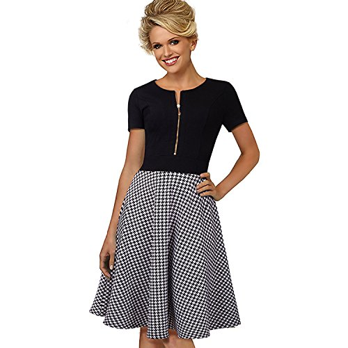 wsxplm-fashion-womens-new-a-word-skirt-stitching-thousands-of-bird-lattice-slim-mince-a-manches-cour