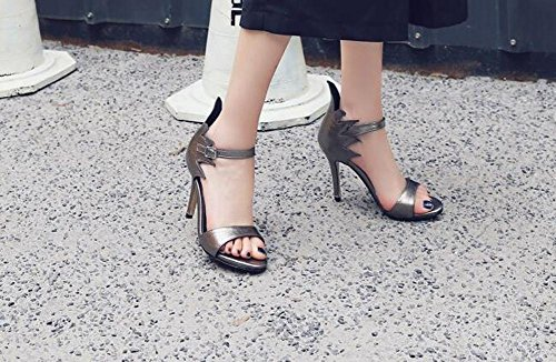 Beauqueen Pumps Open-Toe Anke Straps Stiletto High Heel Sommer Wölbung Büros Casual Cool Sandalen Weiß Schwarz Gun Farbe Customized Europa Größe 32-43 gun color