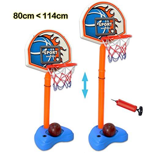 deAO Juego de Baloncesto Independietne Conjunto Deportivo Infantil Set de Basketball Portatil Altura Ajustable (hasta 114cm) Actividades al Interior y al Aire Libre Play Set Incluye Balón