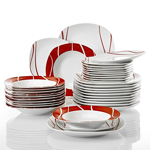 Malacasa, Serie Felisa, 36 tlg. Geschirrset aus Porzellan Tafelservice mit je 12x Speiseteller, 12x Kuchenteller, 12x Suppenteller, Kombiservice für 12 Personen