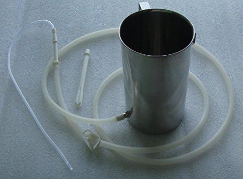 Enema Kit / Two Quart Stainless Steel Enema Bucket – Medical-grade Silicone Tubing | Instuction Booklet