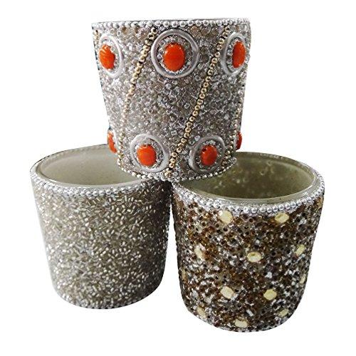 luz de té titular de la vela decorativa aplique el material de lac artesanal de vidrio de estilo antiguo sistema de la plata de 3 piezas artículo de regalo Día de la Independencia