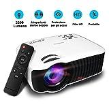 Video Proiettori 2200 Lumens, ABOX T22 LCD VideoProiettore Mini Portatile 1080P HD per Home Cinema per PC/ PS4/ Smartphone/ Xbox