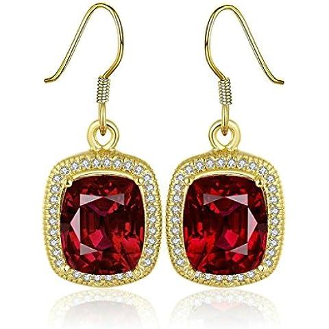 Gnzoe Gioielli 18K Oro Placcato Drop Orecchini Fishhook Rectangle Pendant Rosso Cristallo Eco Amichevole