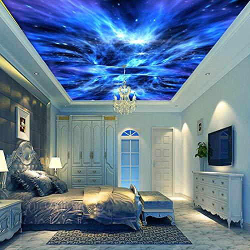Fototapete 3D Effekt Benutzerdefinierte Größe 3D Murales Blue Aurora Universe Galaxy Abgehängte Decke Hintergrund Tapete Wandbild 3D 400X280Cm