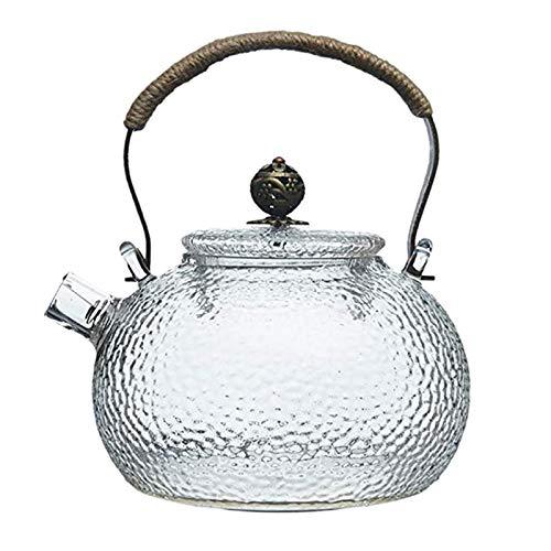 Tiamu 700Ml Teekanne Kalt Wasserkocher Hammer Hitze Best?ndiges Glas Transparent Kupfer Griff Strahl Topf Dose Beheizt Werden Wasserkocher