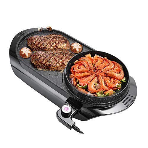 YJIUJIU Korean Medical Stone Nichtraucher Nonstick Elektro Grill, Tragbare Doppel Flavor Trennen Hot Pot, Multifunktionskocher Küchengerät -