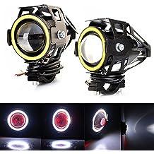 Faros para Moto,RAXFLY 2x Universal de 20W 3000LM 200m Visible U7 Faros Angel Eyes LED para Moto Conducción Luz Delantera Coche Lámpara de Niebla Barco Camión Faro Auxiliar con Aleación de Aluminio Cáscara Impermeable,Blanco