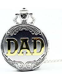ShopyStore Antique Silver Gold Dad Pattern Quartz Pocket Watch With Necklace Fob Watch Father39; S Da