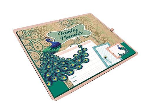 Planificador familiar pavo real: weekkalender, sticky notes en notitieblok