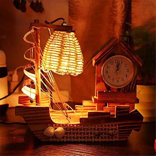 Lampe de table pas cher 220V 15W Art en bois faisant de la voile avec horloge Design lampe de table Night Light Warm Yellow Light Salon Décoratio