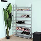 Songmics 10 Tier for 60 pairs of Shoes Rack Standing Storage Organizer Grey 100 x 29 x 175 cm LSR10G