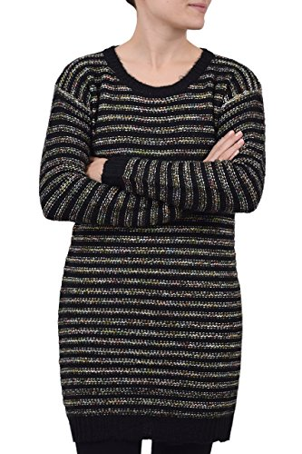 QED - Robe en maille femme - Col bateau & manches longues - Rayures effet multifibres Noir