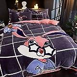 BEDSETAAA Mode Bettwäsche Set Dreiteilige Set Blatt Bettbezug Kissenbezug Liebhaber Cartoon Freizeit Coral Velvet 200x230cm F