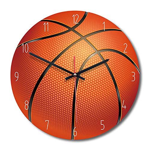 TOOGOO Haus Dekorative Wand Uhr Sport Stil Holz Wand Uhr Wohnzimmer Schlafzimmer Kinderzimmer Uhr Basketball