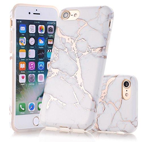 iPhone 7 Hülle, iPhone 8 Hülle, JIAXIUFEN Glänzend Rose Gold Aquarell Weiß Marmor Soft TPU...