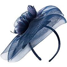 deevoov Sinamay Alice diadema tocado de plumas de flores boda Headwear Ladies Carrera Royal Ascot pastillero Cocktail Party Derby Sombrero