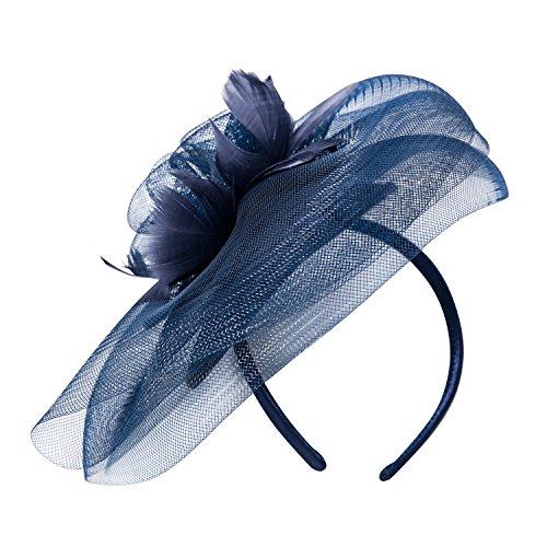 Deevoov – Kopfschmuck für Damen, Alice, mit Blumen und Federn aus Sinamay, Fascinator für Hochzeiten, königliche Pferderennen in Ascot, Cocktailpartys, Pillbox-Hut, Melone Gr. Einheitsgröße, blau