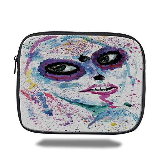 Laptop Sleeve Case,Girls,Grunge Halloween Lady with Sugar Skull Make Up Creepy Dead Face Gothic Woman Artsy,Blue Purple,Tablet Bag for Ipad air 2/3/4/mini 9.7 inch (Sugar Skull Blue Halloween)