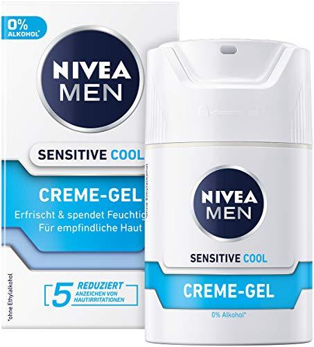 NIVEA MEN Sensitive Cool Creme Gel im 2er Pack (2 x 50 ml), erfrischende Gesichtscreme, beruhigende Feuchtigkeitscreme gegen Hautirritationen
