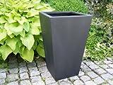 Blumenkübel L34x B34x H56cm aus Fiberglas in schwarz-anthrazit, Pflanzkübel, Pflanztöpfe, Pflanzgefäße, konisch