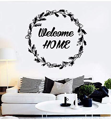 BRILLINT.YY Wandtattoo Schlafzimmer Willkommen Zu Hause Zitat Wandtattoos Haus Interior Design Rustikalen Kranz Willkommen Zu Hause Tür PVC Aufkleber 59X57Cm