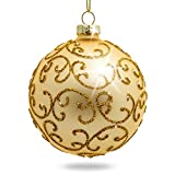 Sikora 4er-Set ausgefallene Christbaumkugeln 'Highlights' aus Glas - Gold, Größe:8 cm, Farbe/Modell:Modell Florenz Gold