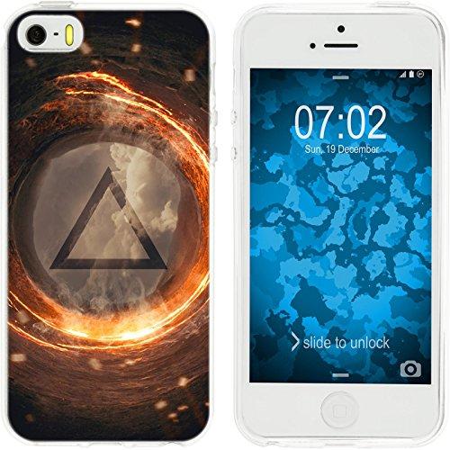 PhoneNatic Apple iPhone 5 / 5s / SE Custodia in Silicone estate M5 Case iPhone 5 / 5s / SE + pellicola protettiva Motif:03 Elemento Fuoco