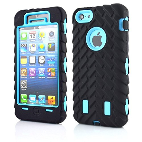 Iphone 5C Coque,Lantier Tire Conception fraîche de la série 3 en 1 Heavy-Duty Dual Layer Soft Touch Housse de protection avec boîtier intérieur dur PC pour Apple Iphone 5C Noir Tire Light Blue