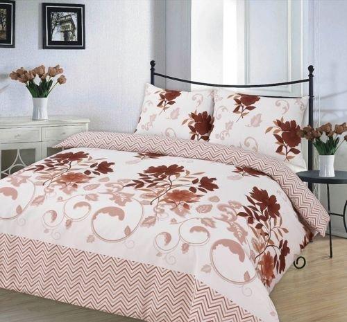 Bettbezug, bedruckt Set Weich & extrem strapazierfähig Beste Qualität | Muster, | Bethany braun/schokolade | by Coton Modus, Einzelbett (Schokolade Braun Bettbezug)