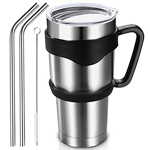 Homitt 900ml/30oz Insulated Tumbler Travel Mug, Double Wall Vacuum Stainless Steel Cup Bundle with Lid, Handle, 2 Curved Straws, Cleaning Brush, (24 Hours Ice Retention, 6 Hours Hot Retention)
