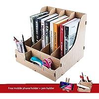 Gabinete de almacenamiento estacionario de escritorio de madera multifuncional Organizador de escritorio de bricolaje Gabinete de almacenamiento de bolígrafo Tidy de tarjeta de visita móvil Caja de al