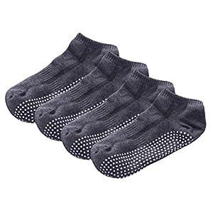 SANIQUEEN.G 4 Paare Baumwolle Yoga/Pilates Socken, Herren Socken für Kampfsport, Gym, Tanz, Stange Socken für Sport mit Gummipunkte gegen Rutsch