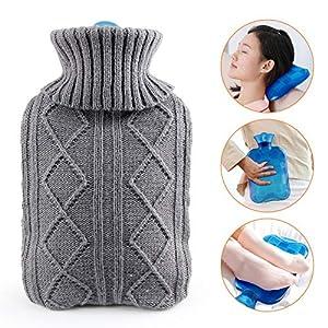 Waermflasche mit bezug, AODOOR wärmeflaschen mit Strickbezug Rollkragen Wärmekissen, Sicher und langlebig Geprüft Und Frei Von Schadstoffen, das perfekte Geschenk
