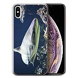 Stuff4 Coque Gel TPU de Coque Apple iPhone XS Max/Requin Bordé Design/Faune Marine...