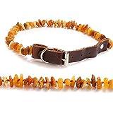 Naturbelassene rohe Naturbernstein Leder-Hundehalsband 15-55cm, Anti-Zecken-Bernsteinkette Floh- und Zeckenschutz Halsband für Hunde #1450 (50cm-55cm)