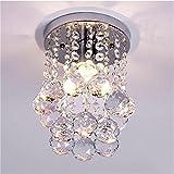 Goeco Lámpara del Techo Candelabro de cristal Luces de Techo LED inoxidable para la sala de estar, dormitorio, pasillo (diámetro 6.29 pulgadas, altura 9 pulgadas)