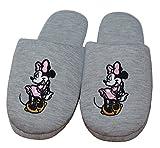 Lizenz Hausschuhe Damen Slippers Minnie Mouse mit Besticktem Motiv - Farbe Grau-Melange (36/37)