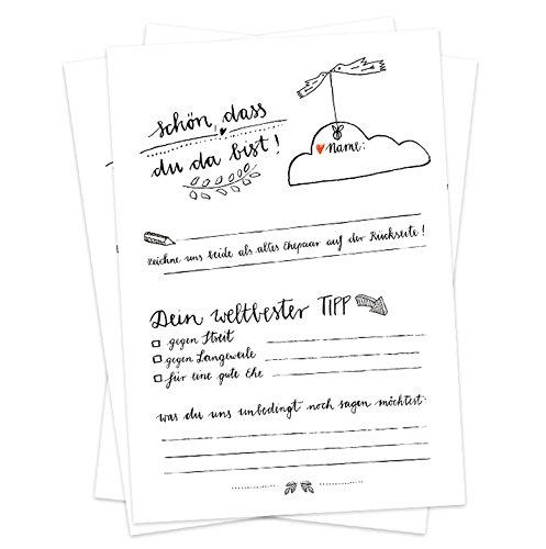 Hochzeitsspiel für Gäste | 52 Postkarten, Schön, dass du da bist | Spiel für die Hochzeit mit witzigen Fragen & zum Zeichnen | Recyclingpapier Partykarten & Postkartengruß | Schwarz Weiß Design