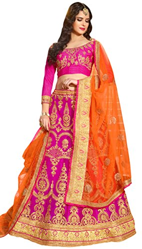 Women'S Pink Color Embroidered Lehenga