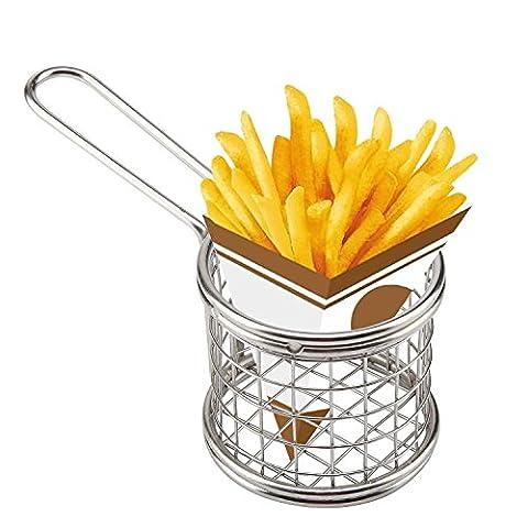 HUAXIONG Mini Chip Baskets Round Chrome Chips Fryer Basket Kitchen Restaurant Frying Food Presentation Serving Basket 8 x